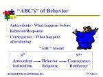 abc s of behavior