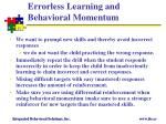 errorless learning and behavioral momentum