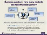 business question how many students attended uw last quarter