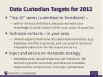 data custodian targets for 2012