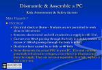 dismantle assemble a pc risk assessment safety factors
