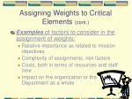 assigning weights to critical elements cont