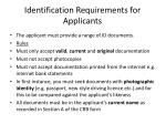 identification requirements for applicants