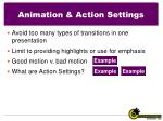animation action settings