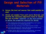 design and selection of fill materials