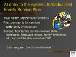 at entry to the system individualized family service plan