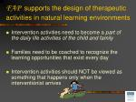 fap supports the design of therapeutic activities in natural learning environments