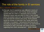 the role of the family in ei services