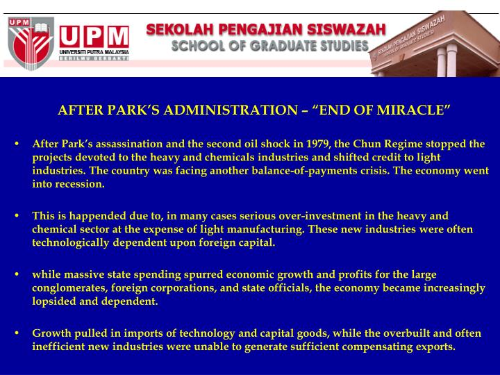 """AFTER PARK'S ADMINISTRATION – """"END OF MIRACLE"""""""