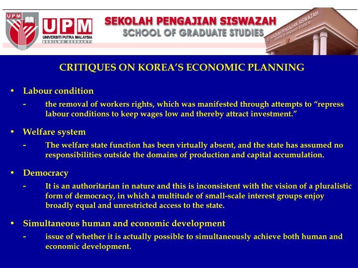 CRITIQUES ON KOREA'S ECONOMIC PLANNING