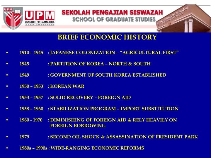 BRIEF ECONOMIC HISTORY