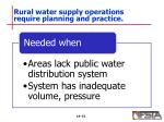 rural water supply operations require planning and practice