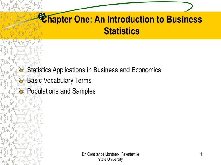 chapter one an introduction to business statistics n.