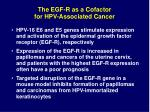 the egf r as a cofactor for hpv associated cancer