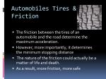 automobiles tires friction