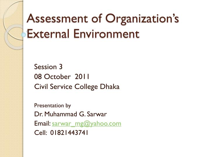 assessment of organization s external environment n.