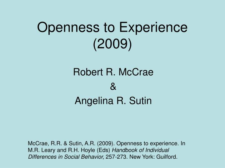 openness to experience 2009 n.