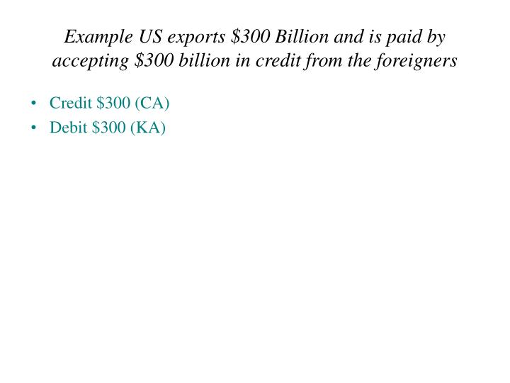 Example US exports $300 Billion and is paid by accepting $300 billion in credit from the foreigners