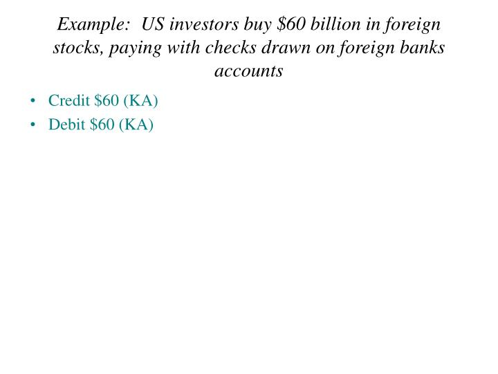 Example:  US investors buy $60 billion in foreign stocks, paying with checks drawn on foreign banks accounts