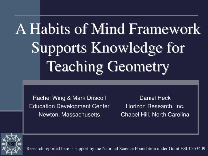 a habits of mind framework supports knowledge for teaching geometry n.