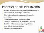 proceso de pre incubaci n