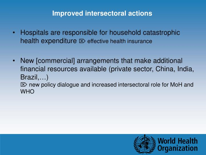 Improved intersectoral actions