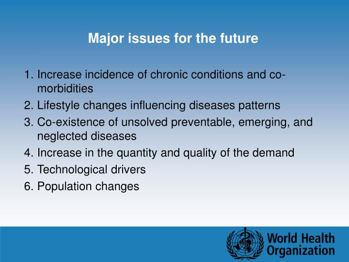 Major issues for the future