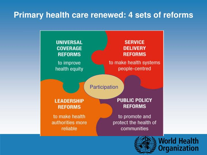 Primary health care renewed: 4 sets of reforms