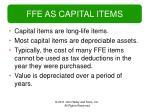 ffe as capital items
