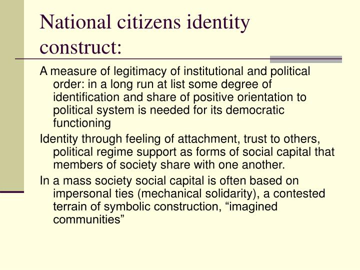 National citizens identity construct: