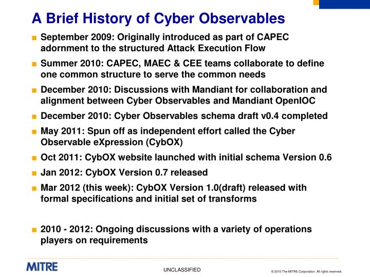 A Brief History of Cyber Observables
