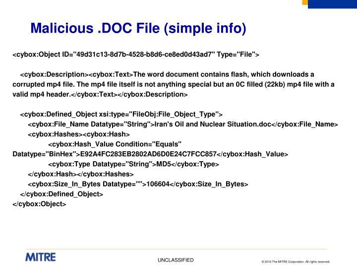 Malicious .DOC File (simple info)