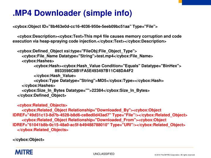 .MP4 Downloader (simple info)