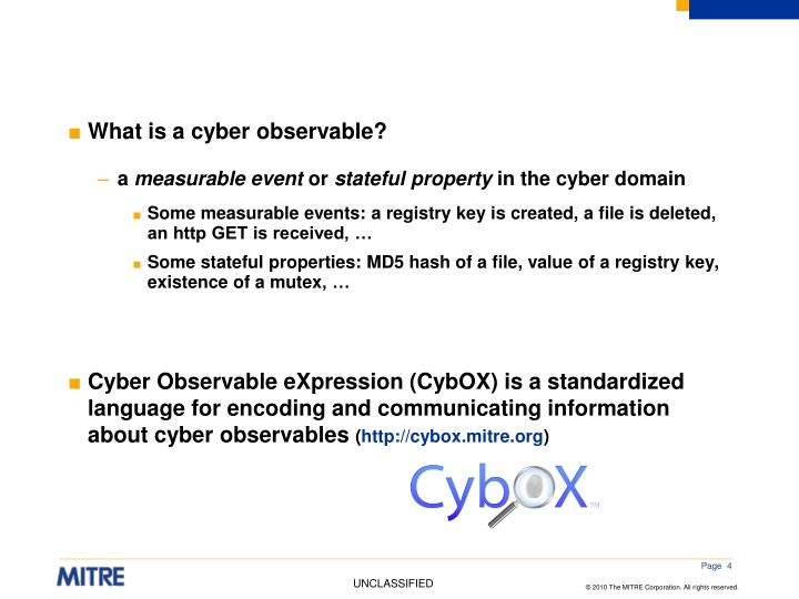 What is a cyber observable?