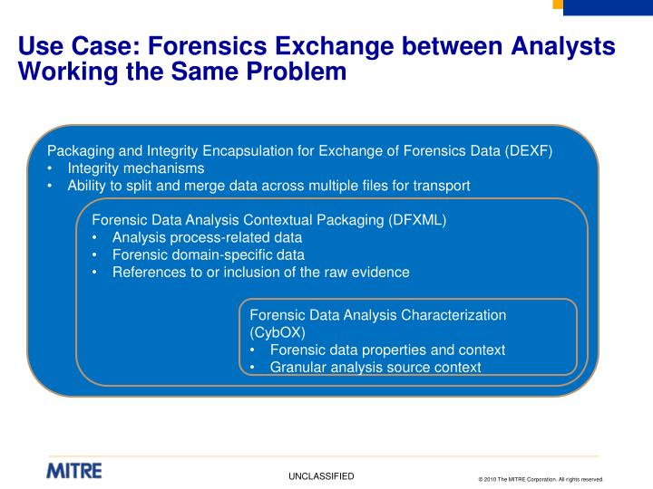 Use Case: Forensics Exchange between Analysts Working the Same Problem
