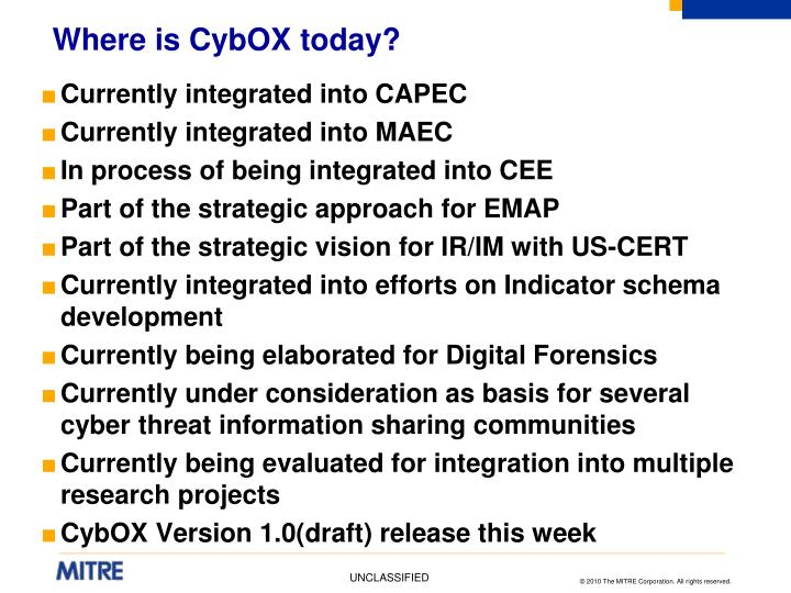 Where is CybOX today?