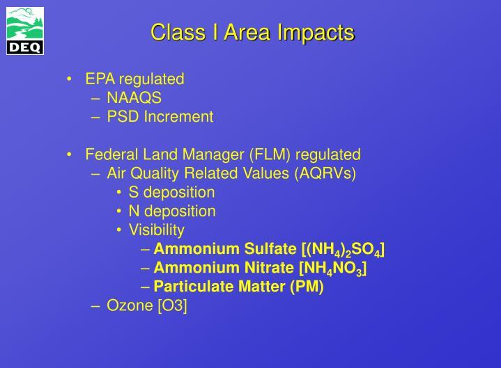 Class I Area Impacts