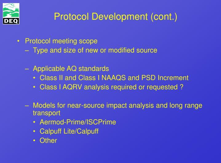 Protocol Development (cont.)
