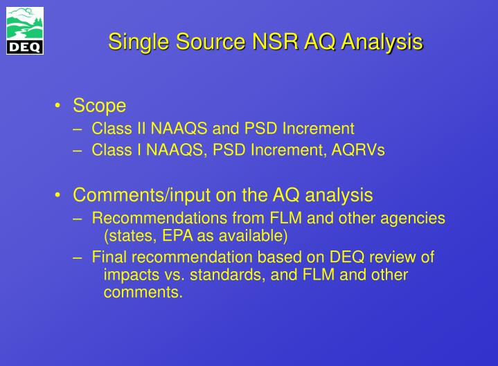 Single Source NSR AQ Analysis