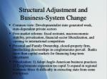structural adjustment and business system change
