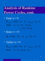 analysis of rankine power cycles cont
