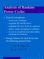 analysis of rankine power cycles