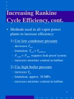 increasing rankine cycle efficiency cont