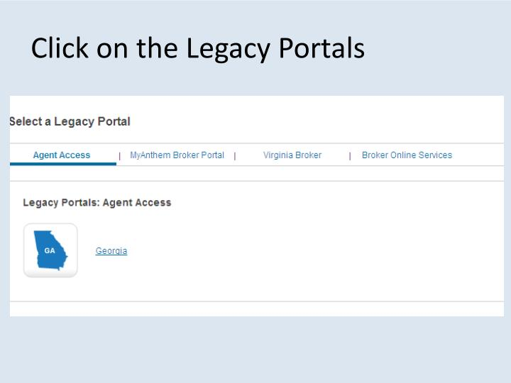 Click on the Legacy Portals