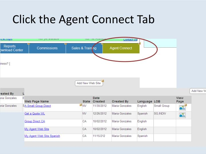 Click the Agent Connect Tab