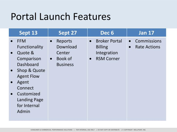 Portal Launch Features