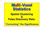 m u l t i voxel statistics spatial clustering false discovery rate correcting the significance