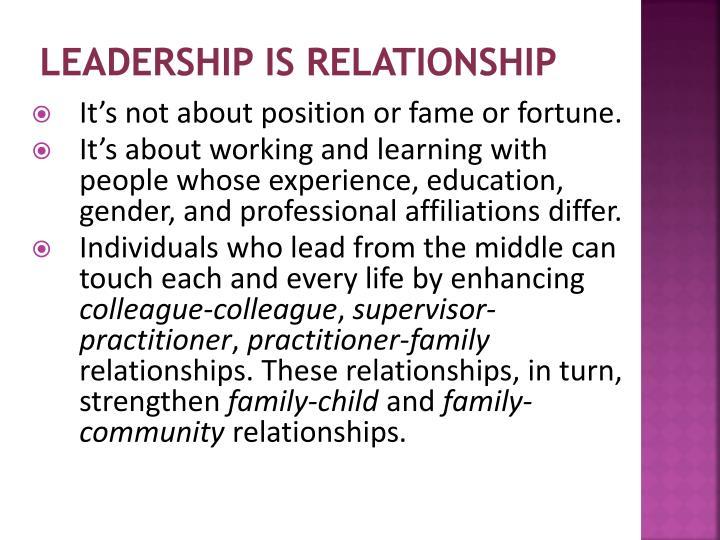 Leadership is relationship