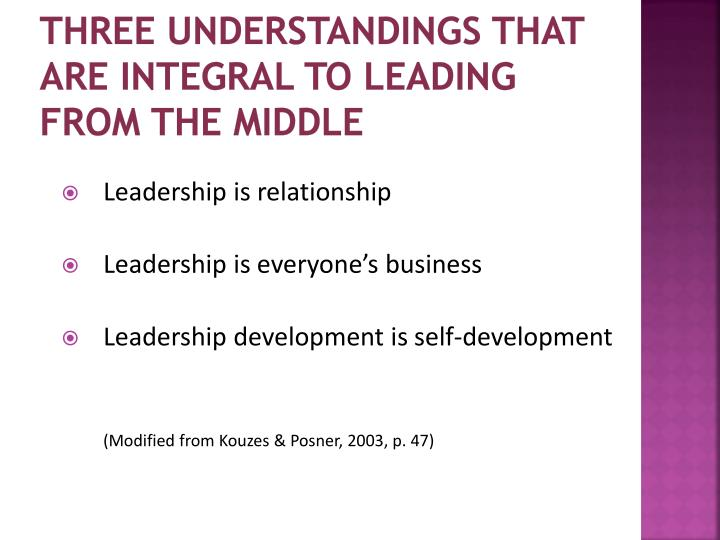 Three understandings that are integral to leading from the middle