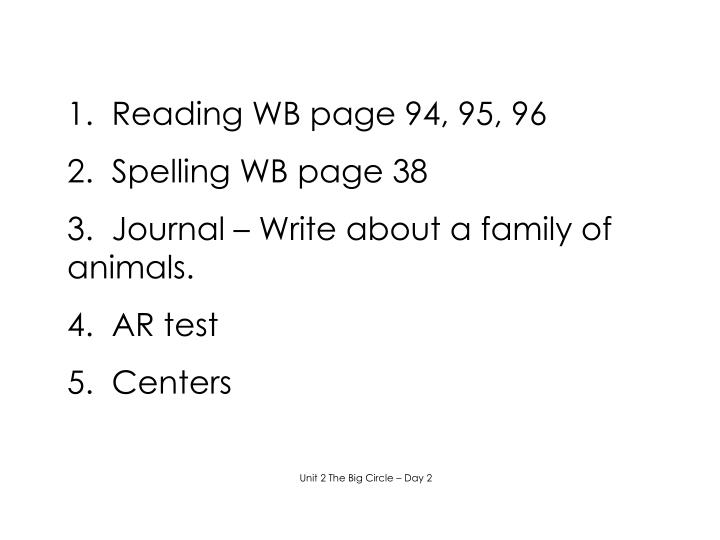 1.  Reading WB page 94, 95, 96